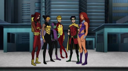 The Teen Titans introduce Starfire