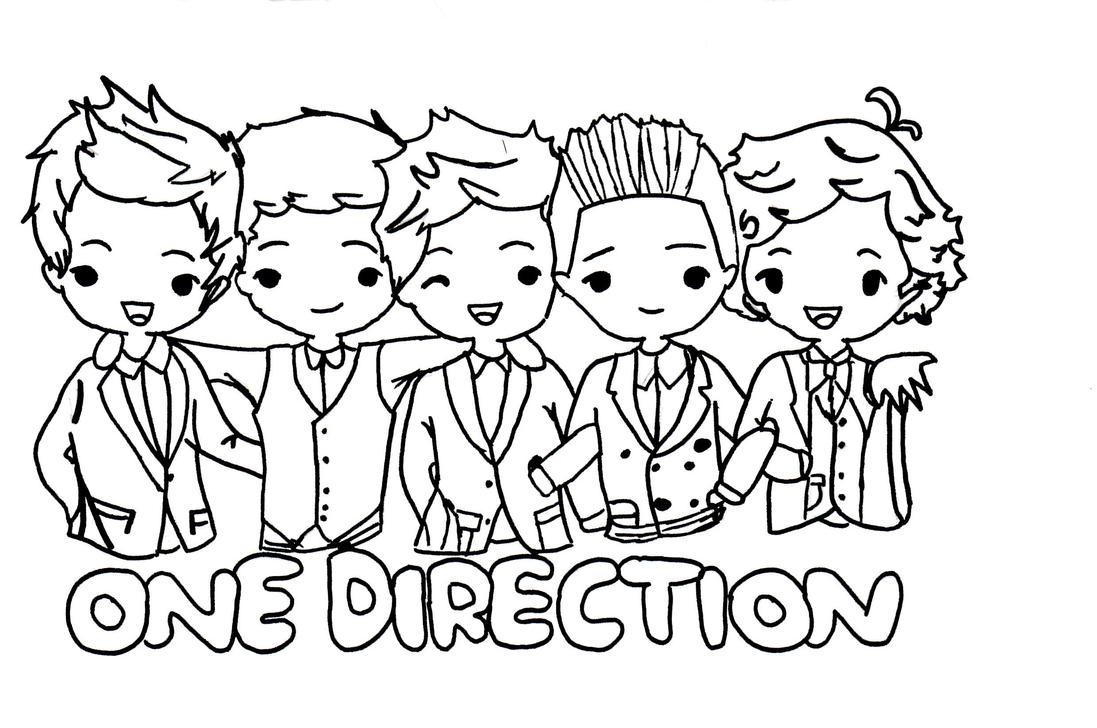 One direction cartoon uncoloured by strangemindedgirl