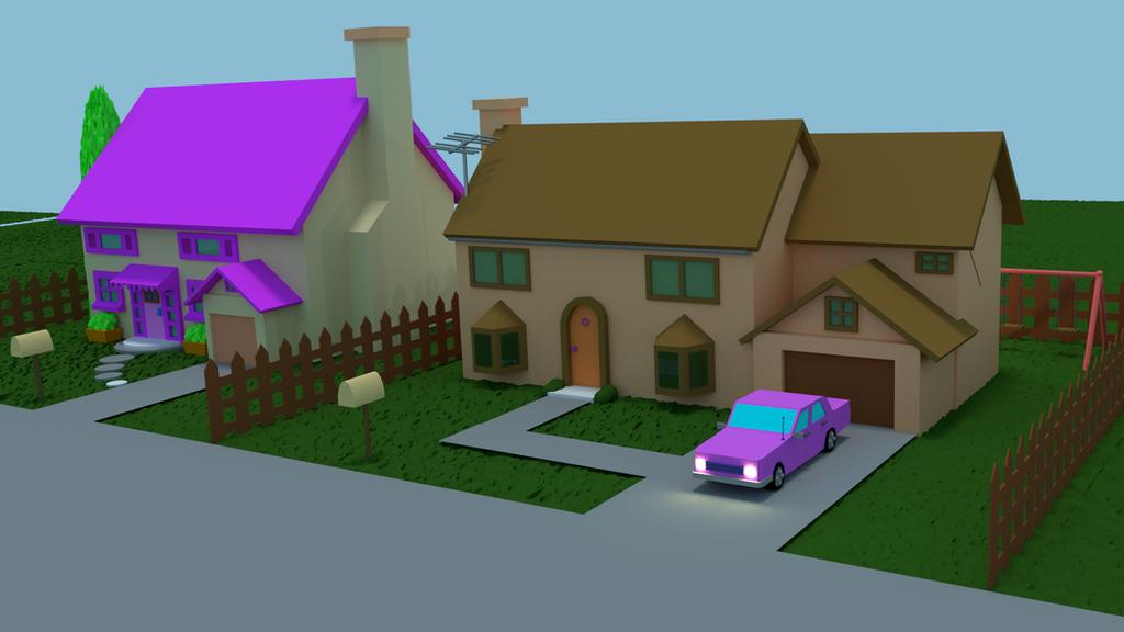 simpsons house model 3d blender by dougssfelipe - House Model 3d