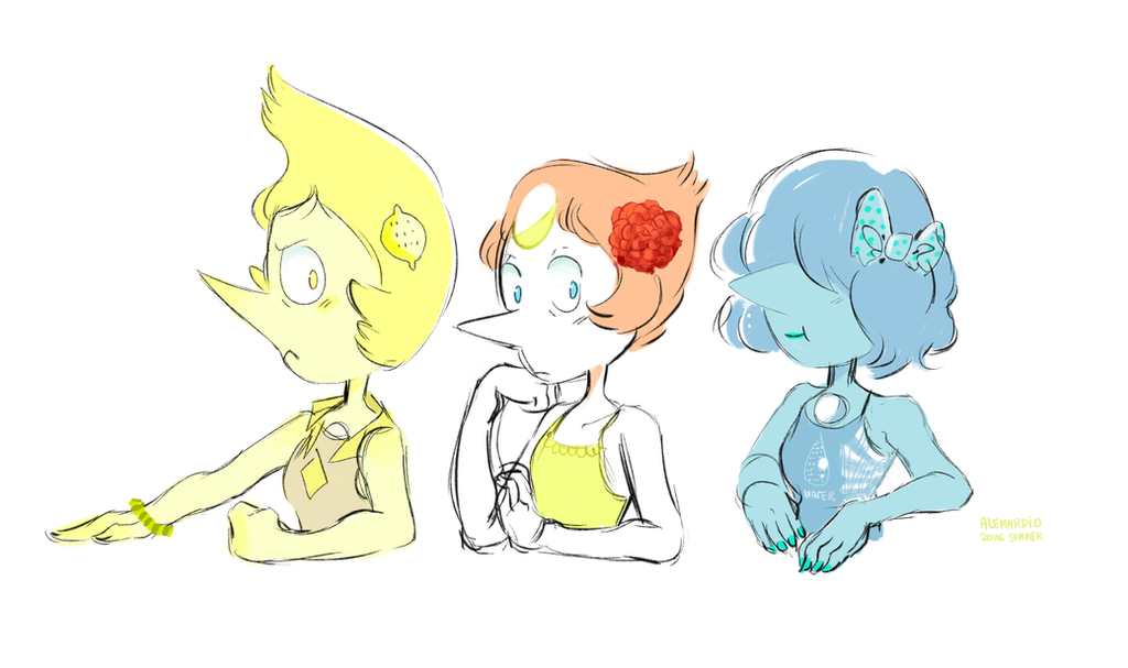 I'm a little bit tired with university stuff but have some summer time pearls. ( my first try to sketch them together )  -- Characters : Steven Universe ©  Sketch by : AtomicKitten13...