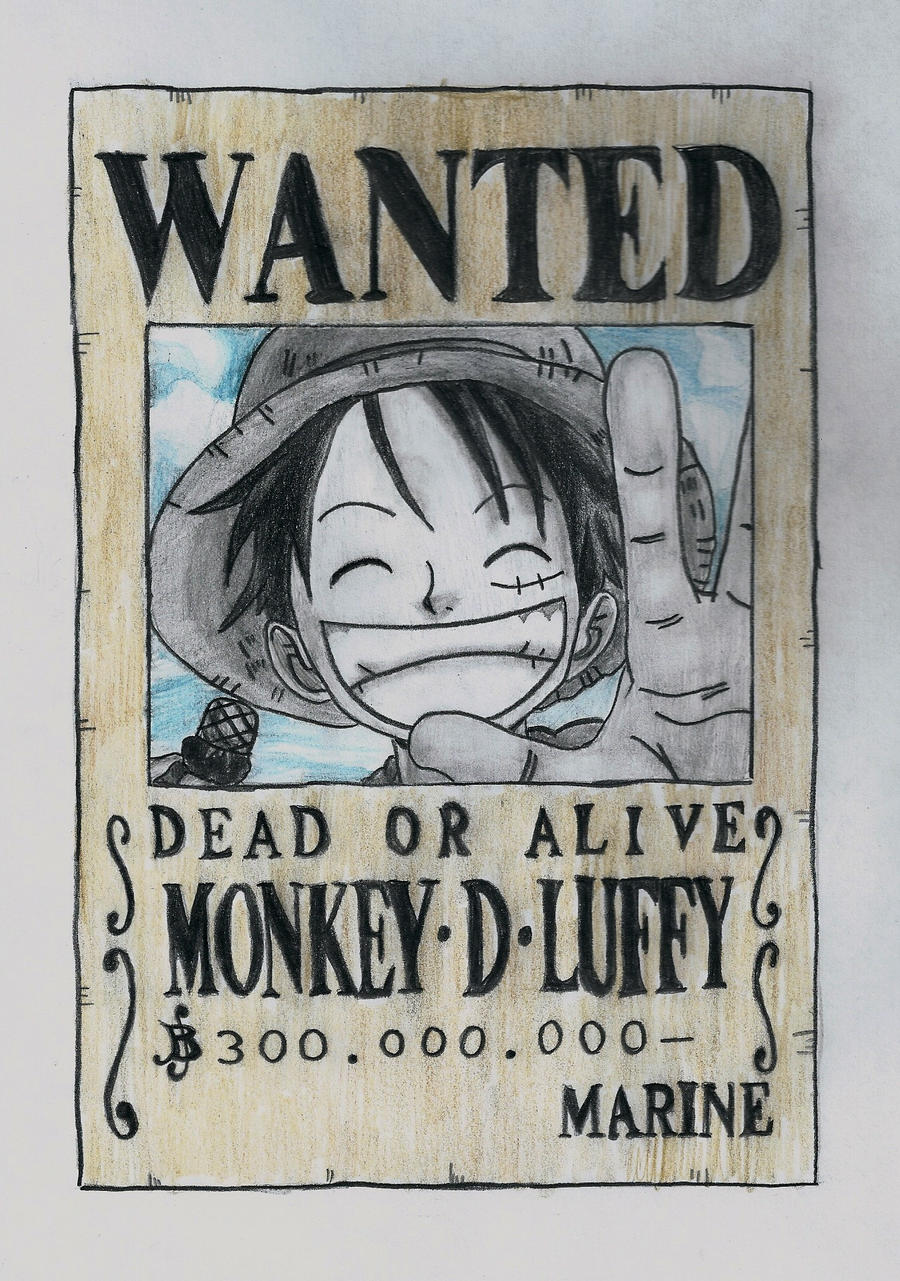 One piece luffy wanted poster by lea33 on deviantart - One piece wanted poster ...