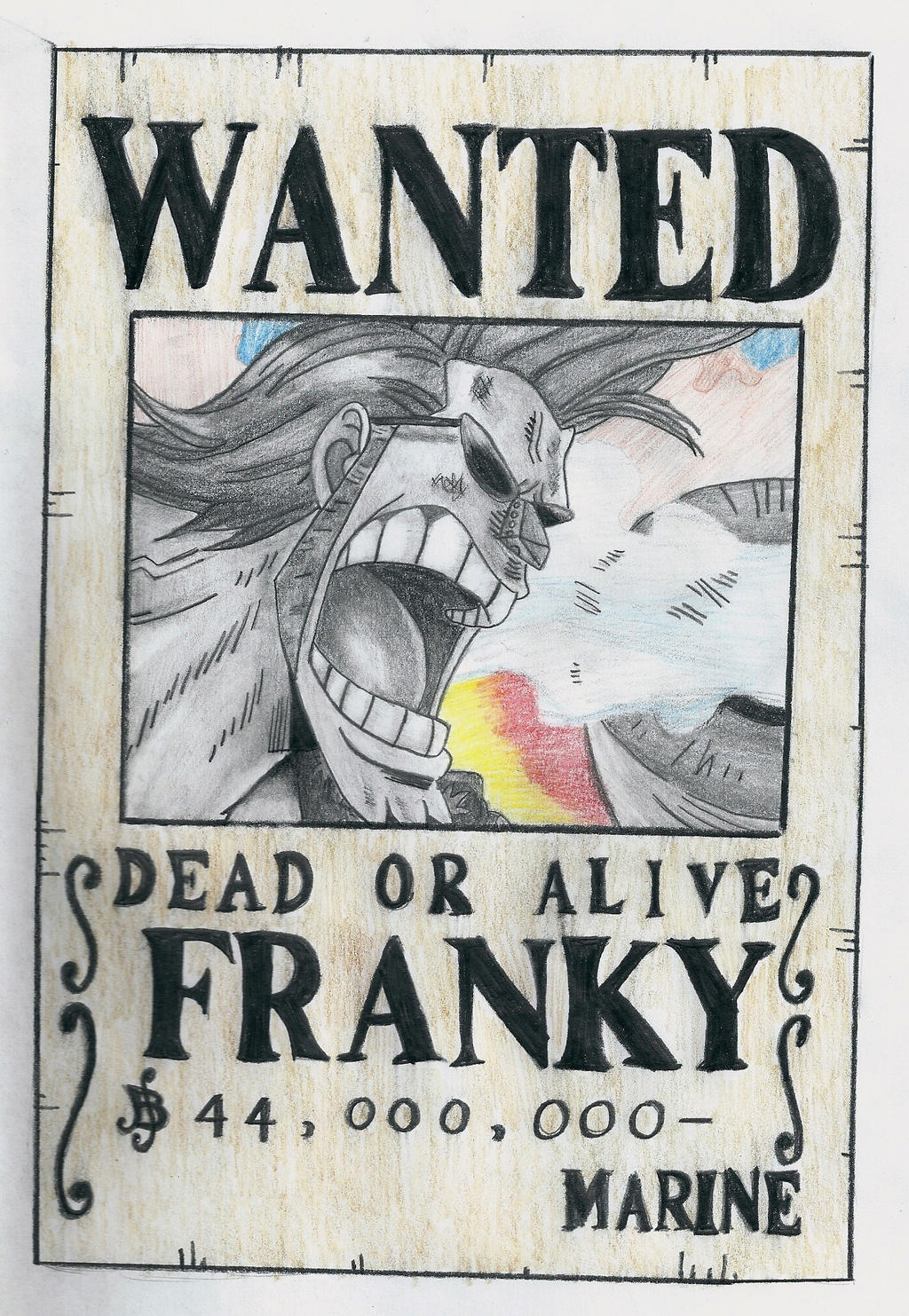 one piece, franky wanted poster by lea33 on DeviantArt