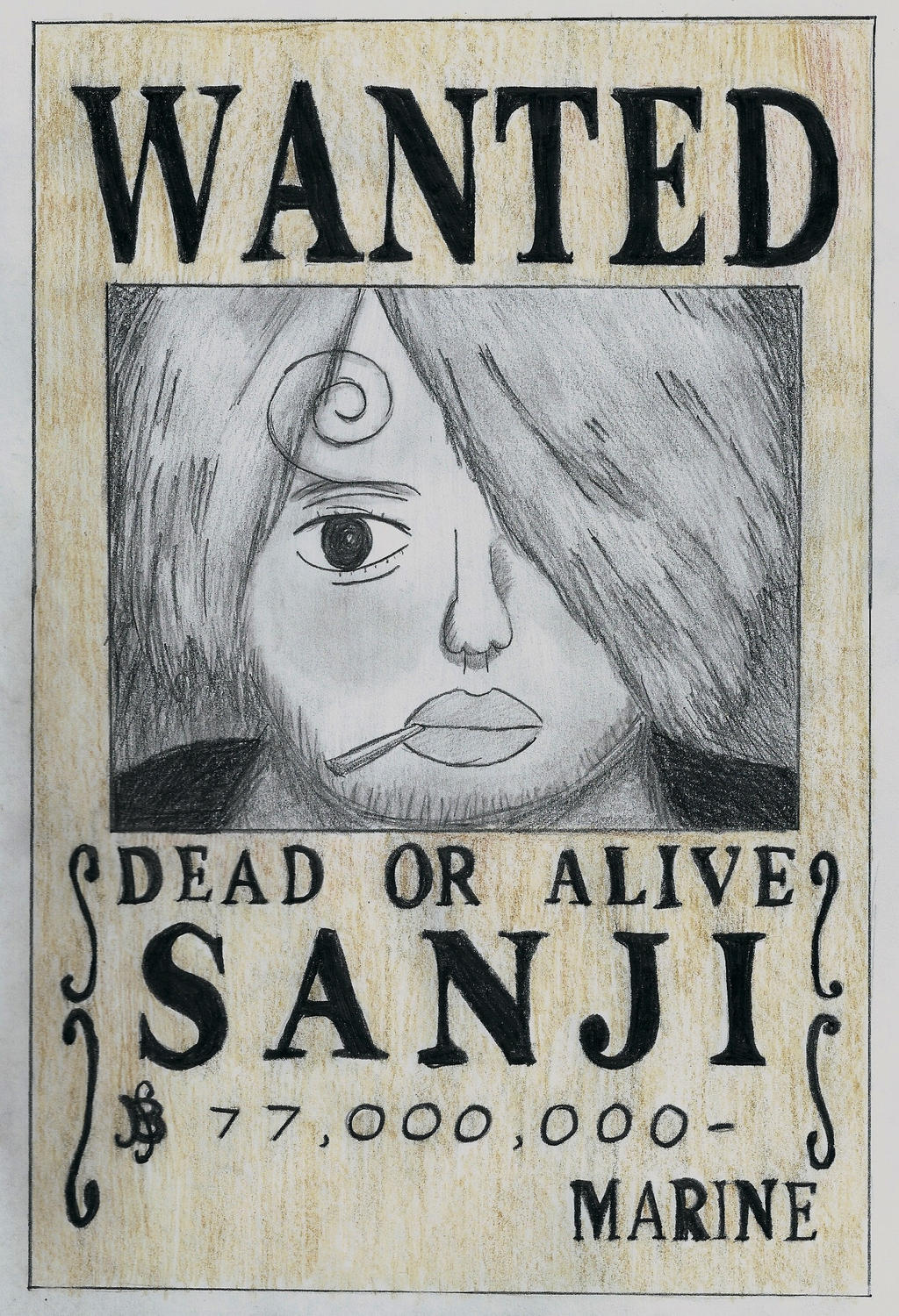 One piece sanji wanted poster by lea33 on deviantart - One piece wanted poster ...