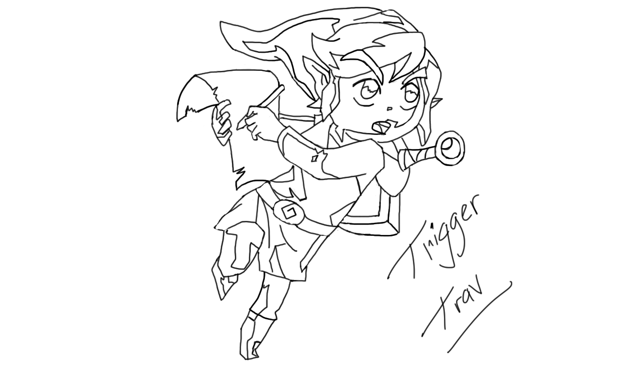 Line Art Zelda : The legend of zelda link line art by triggertrav on