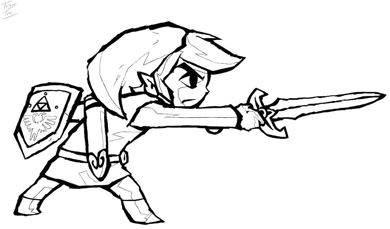 Zelda coloring pages to print -  The Legend Of Zelda Link S Determination By Triggertrav