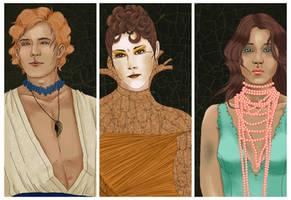 capitol portrait trio - finnick, johanna and annie by finnodair