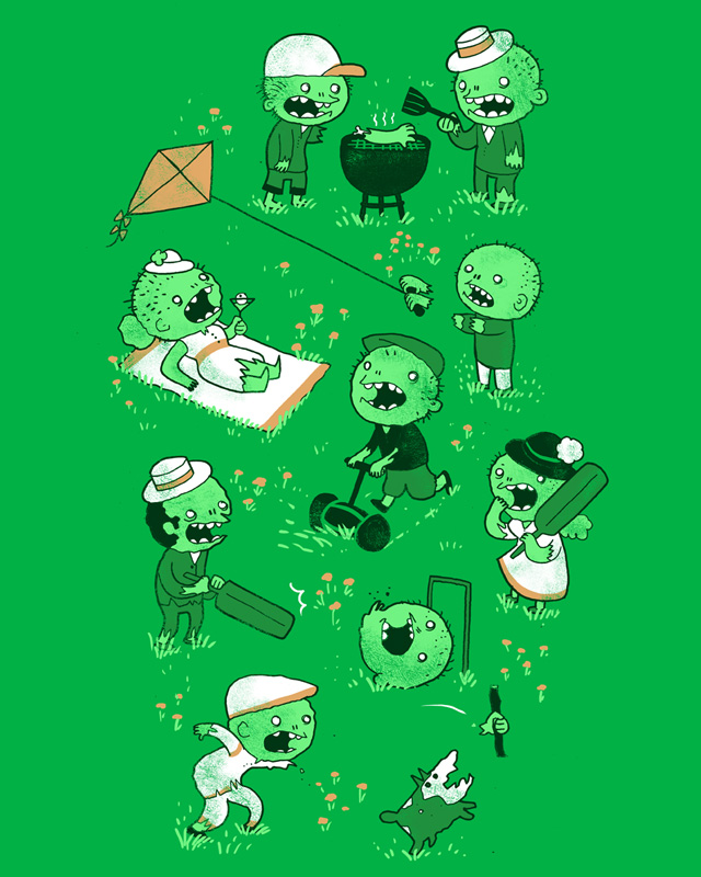 Threadless: Lawn of the dead by missqueenmob