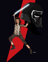 Rey and Kylo mashup by BeckyDeVendra