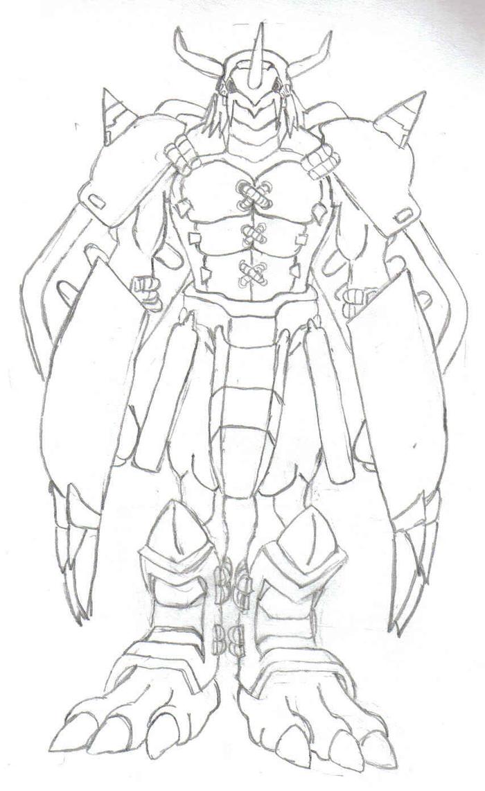 Digimon Wargreymon Drawing Sketch Coloring Page