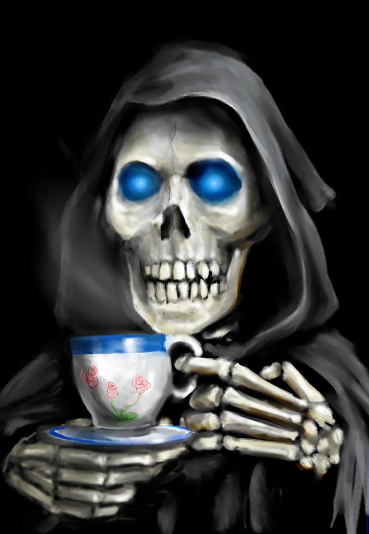 Skeleton Drinking Coffee