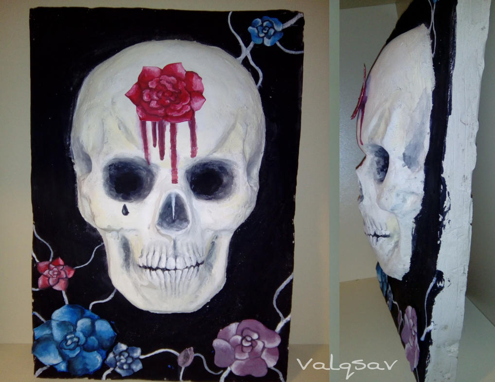 Skull with flowers (relief sculpture) by Valqsav