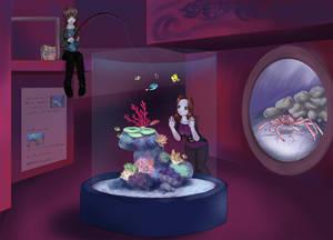 Manda and Jess at the aquarium