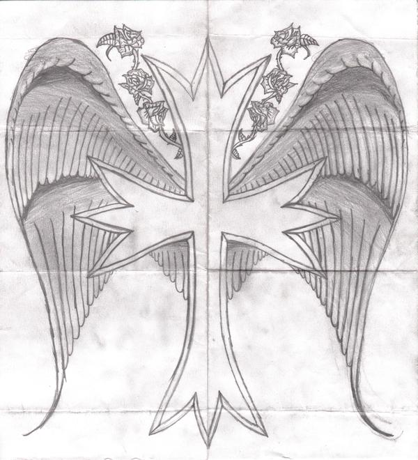 Drawings of crosses with wings and roses