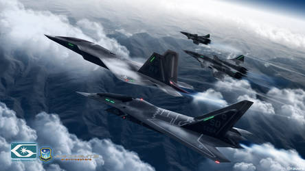 F/A-32C, F-22C and XF/A-36A over Lambert Mountains