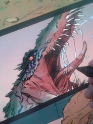 Pangea Last Dawn panel coloring progress by kourmpamp