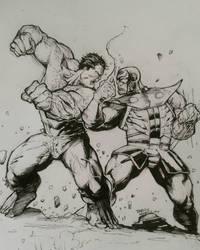 Hulk vs Thanos warm up sketch by kourmpamp