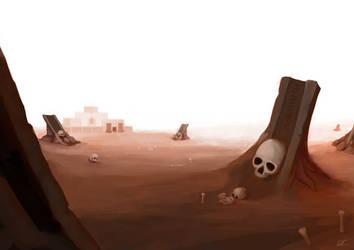 Desert with skulls