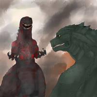 Shin Godzilla vs Legendary Godzilla  by AkityMH