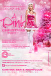 a pink christmas party flyer