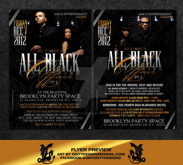 all black everything two side flyer by deitydesignz on