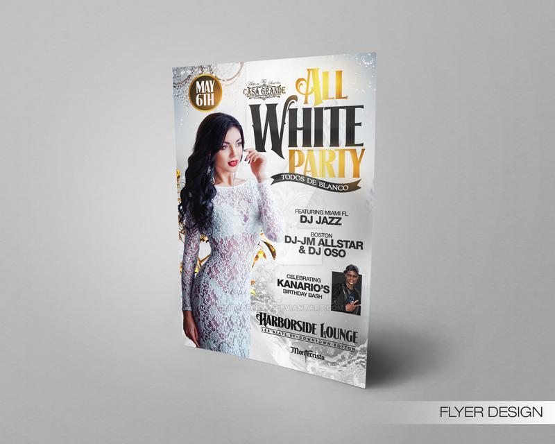 All White Party Flyer by DeityDesignz