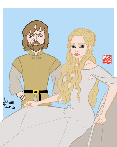 Peter Dinklage and Emilia Clarke - Tyrion and Dany by howardshum