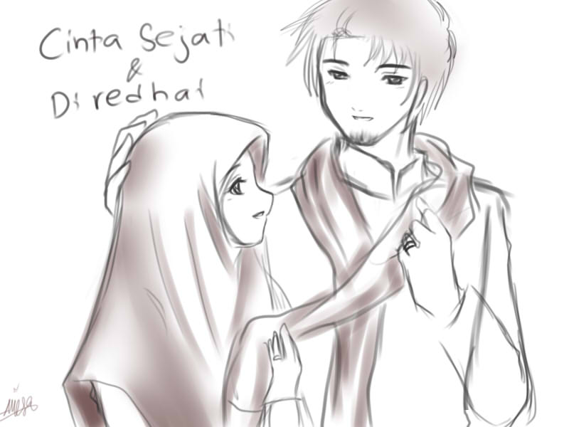 Couple After Marriage Yuzuhana On Deviantart Jpg 800x600 Drawing Muslimah Anime Pictures