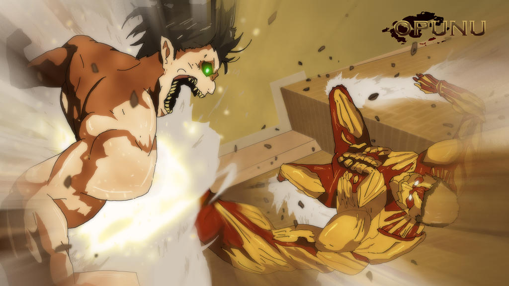 Eren vs Armored... Attack On Titan Eren Titan Vs Armored Titan