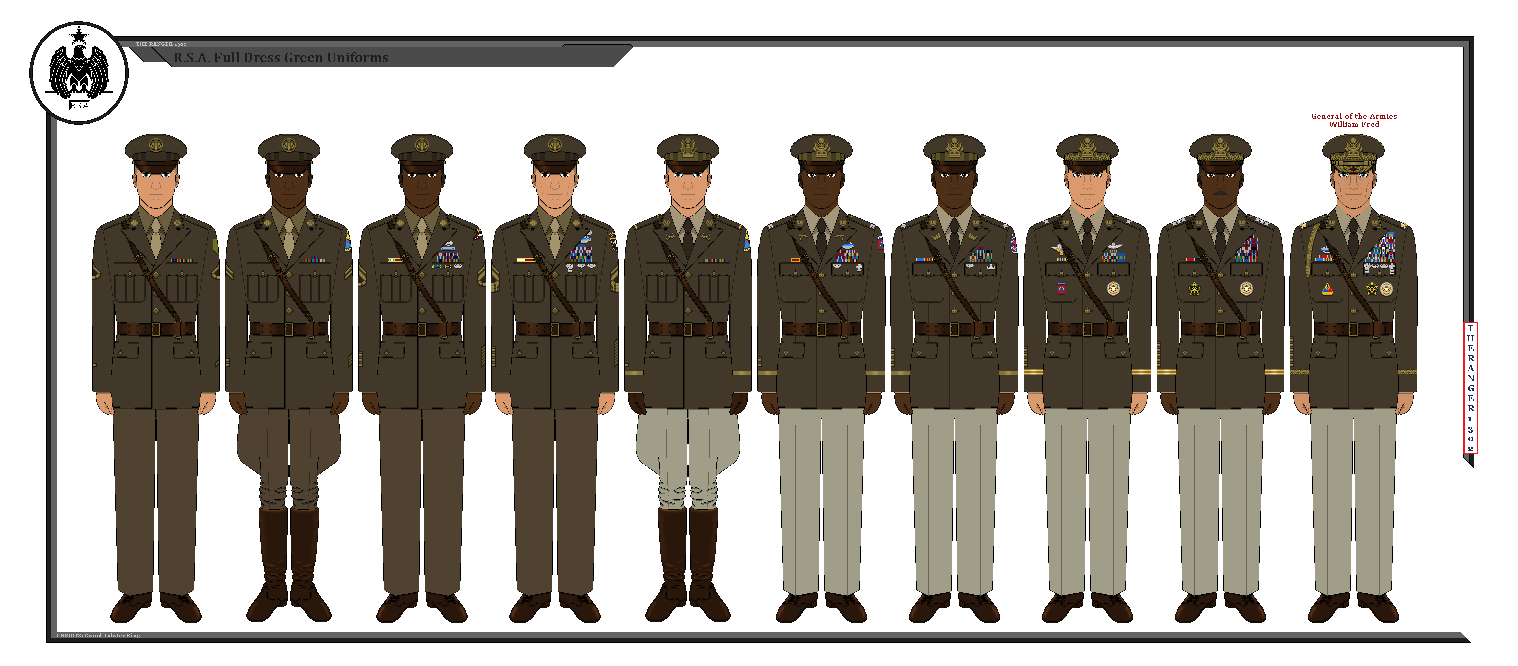 R S A Army Class-A Dress Green Uniforms by TheRanger1302 on