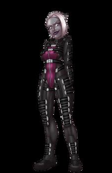 Space Elf Halloween - Valaria as an Asari Commando