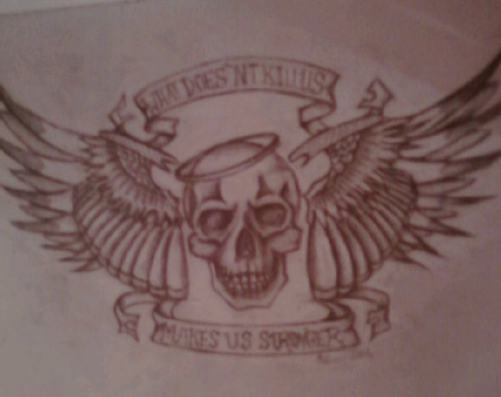 skull halo wings tattoo design by dmvcustomdesign on deviantart. Black Bedroom Furniture Sets. Home Design Ideas