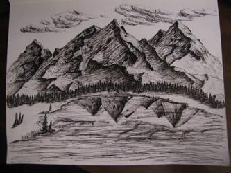 Large Mountain Sketch by TylersArtShack