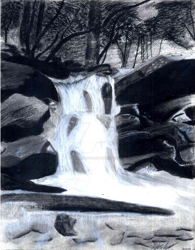 Waterfall Drawing by TylersArtShack on DeviantArt