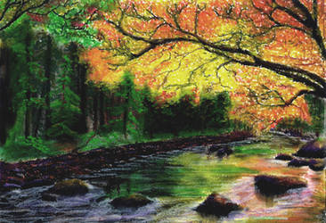 Glowing Fall Stream by TylersArtShack