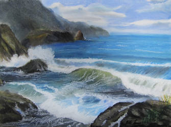 Rocky Beach Oil Pastel by TylersArtShack