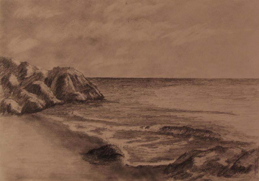 Rocky Beach Pencil Drawing by TylersArtShack on DeviantArt