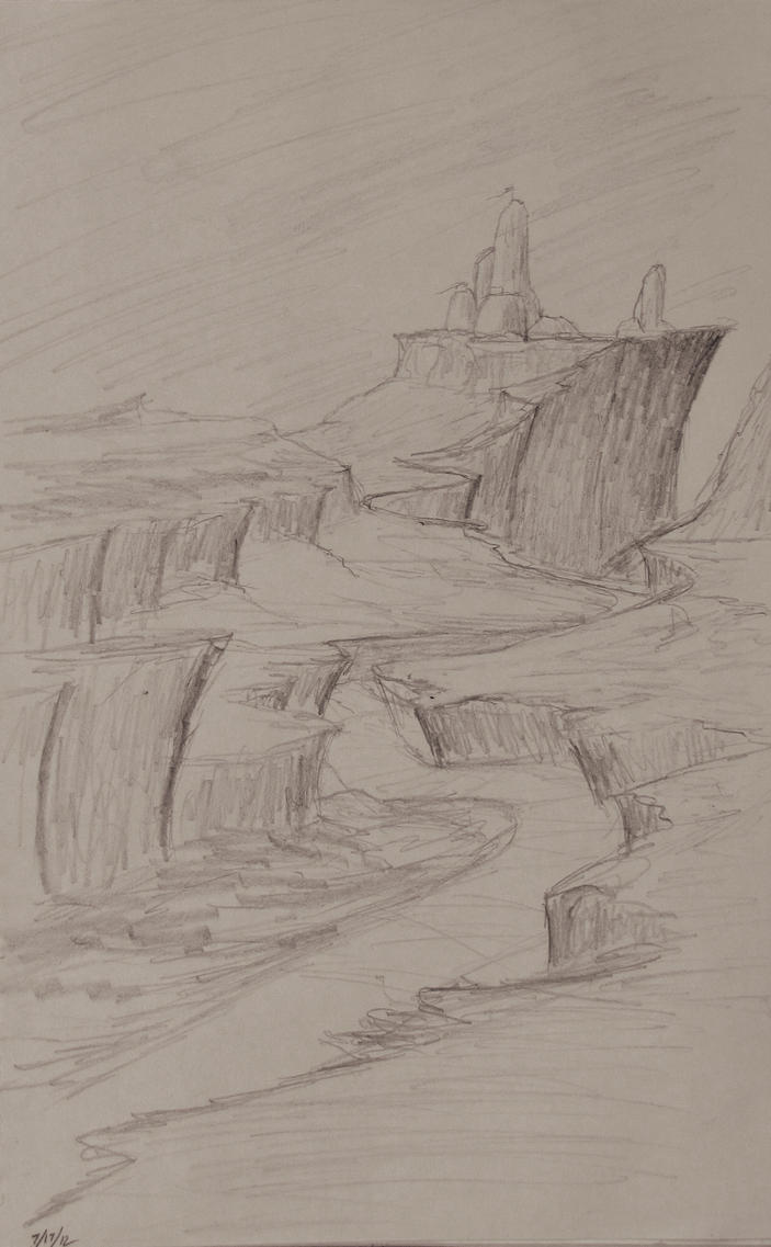 Sketch: Winding Cliffs by TylersArtShack
