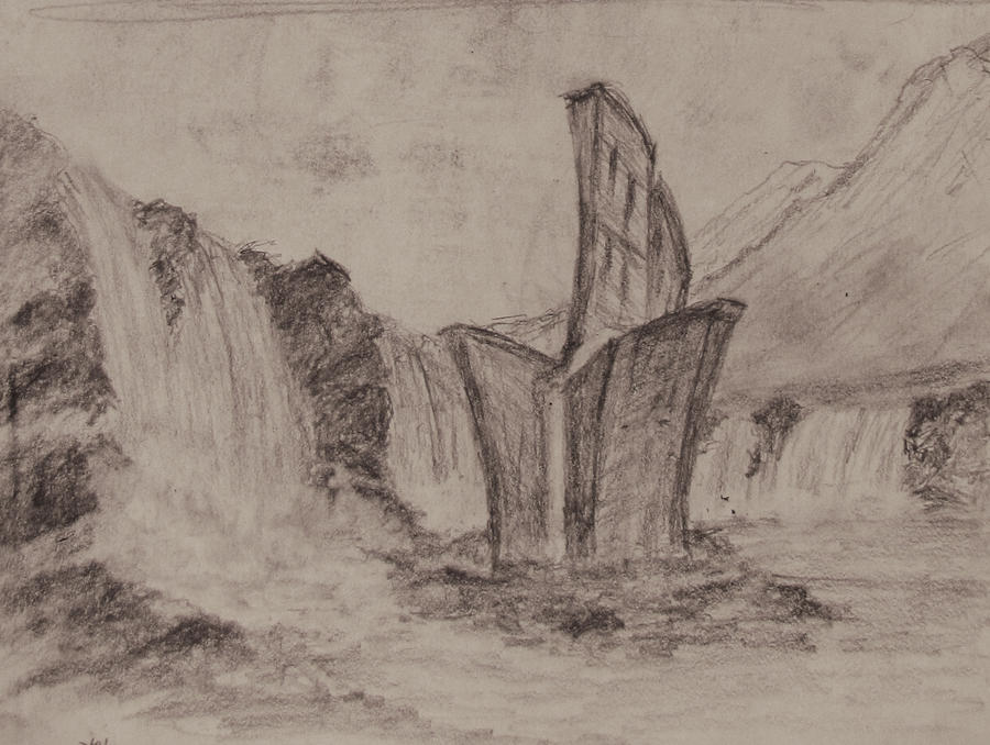 Sketch: Building Surrounded By Water