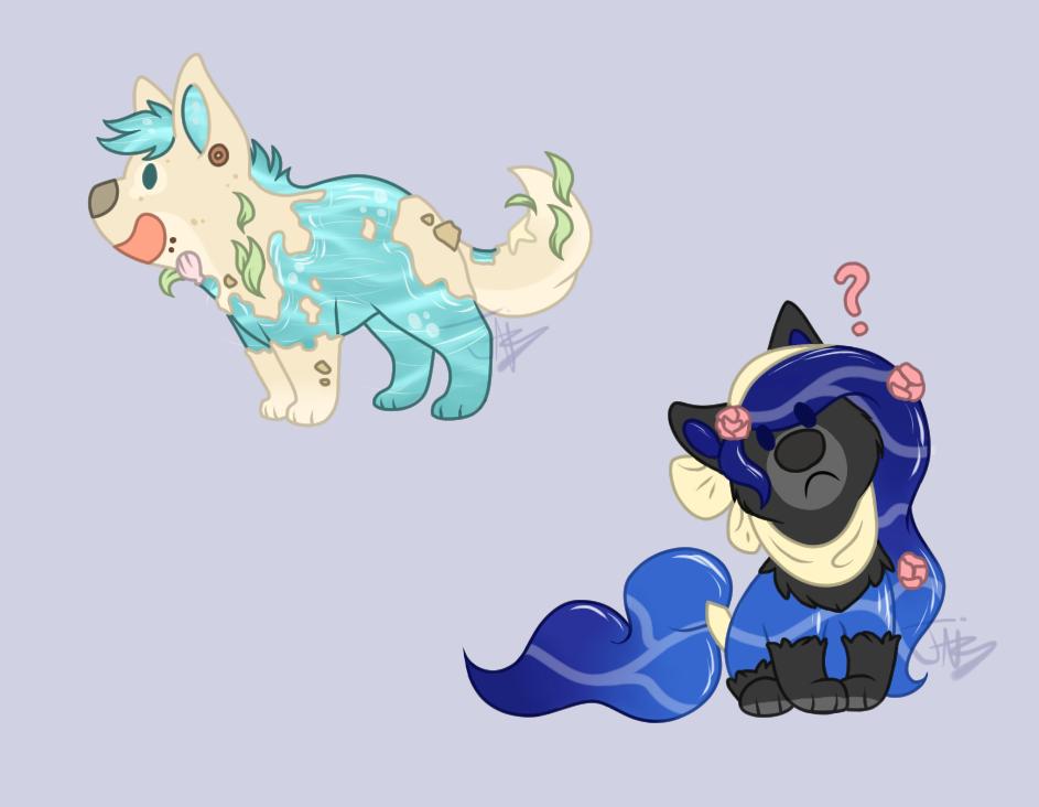 Chibi waterdoggies by Tunquen