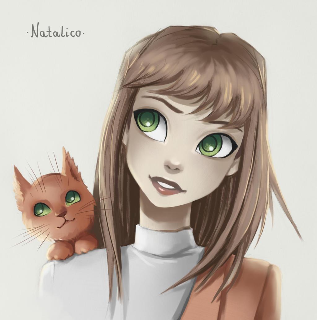 Cat on shoulder (digital) by natalico