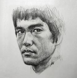 Bruce Lee Portrait Drawing by ArtOfWei