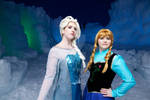 Elsa and Anna at Ice Castle