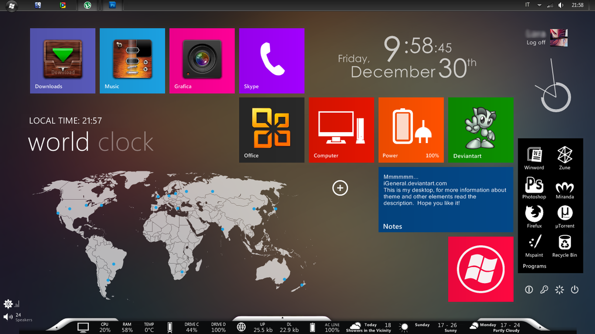 Windows 7 Metro Style - iGeneral Desktop by iGeneral