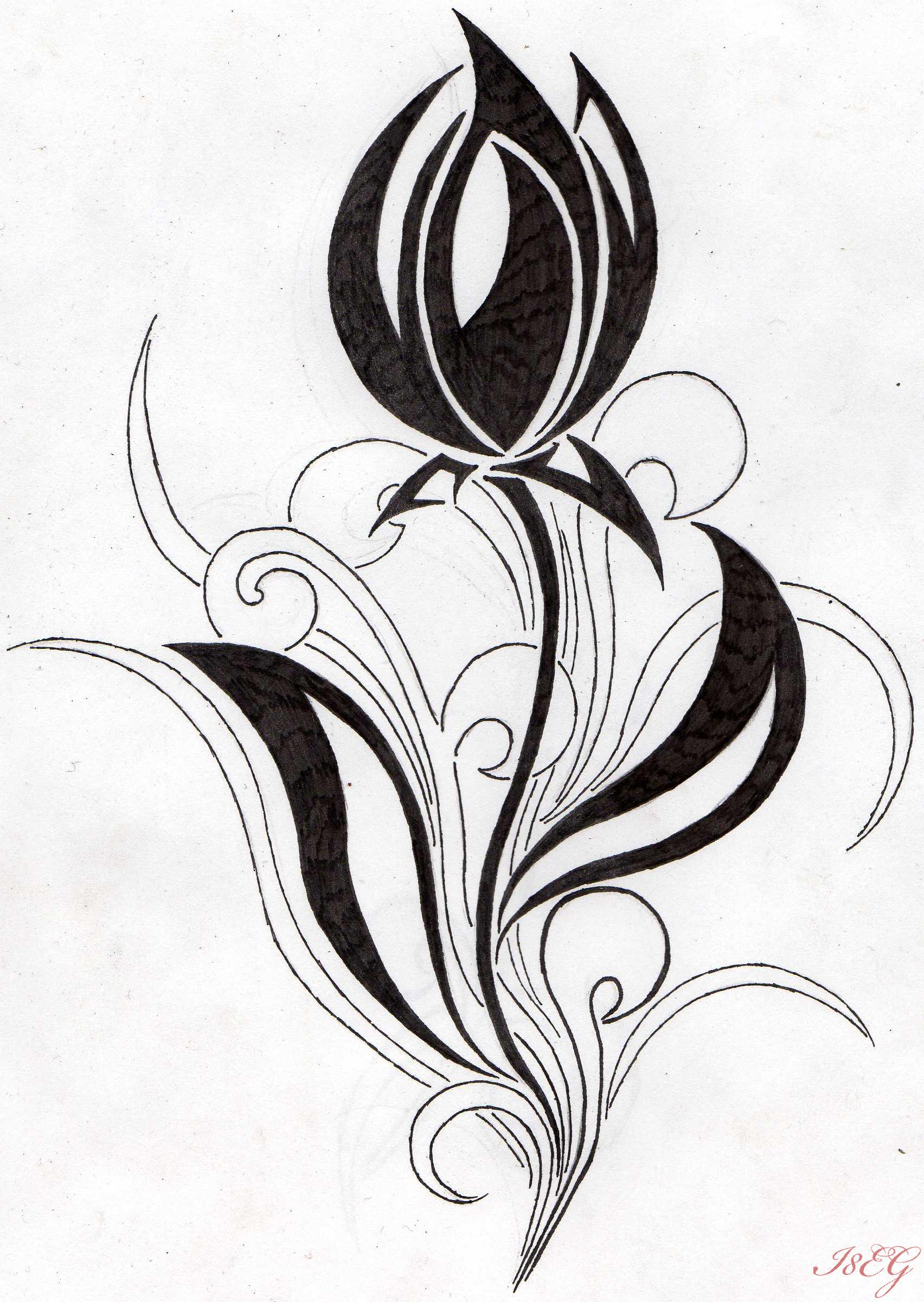 flower tribal tulip by aglinskas on deviantart. Black Bedroom Furniture Sets. Home Design Ideas