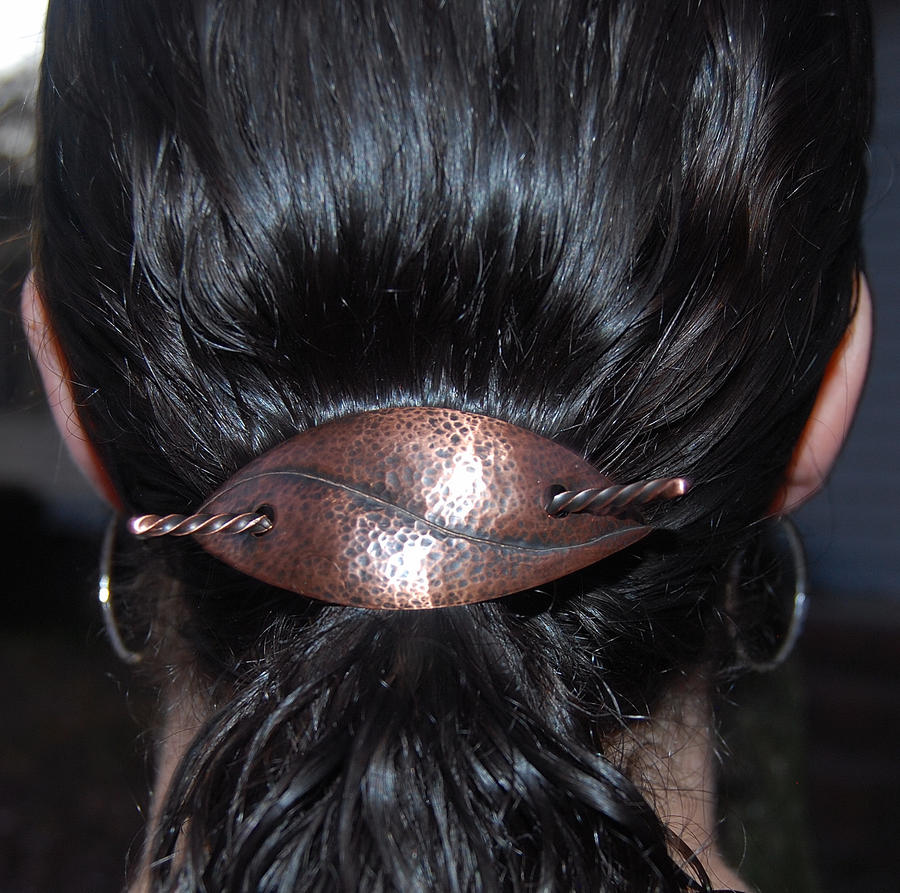 Copper Leaf Barrette by DreamingDragonDesign