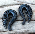 Celtic Ravens - Carved Jet Gauged Talon Earrings