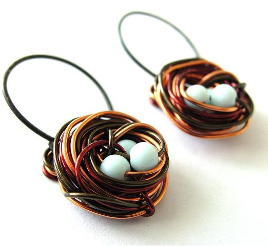 Bird Nest Earrings by sojourncuriosities