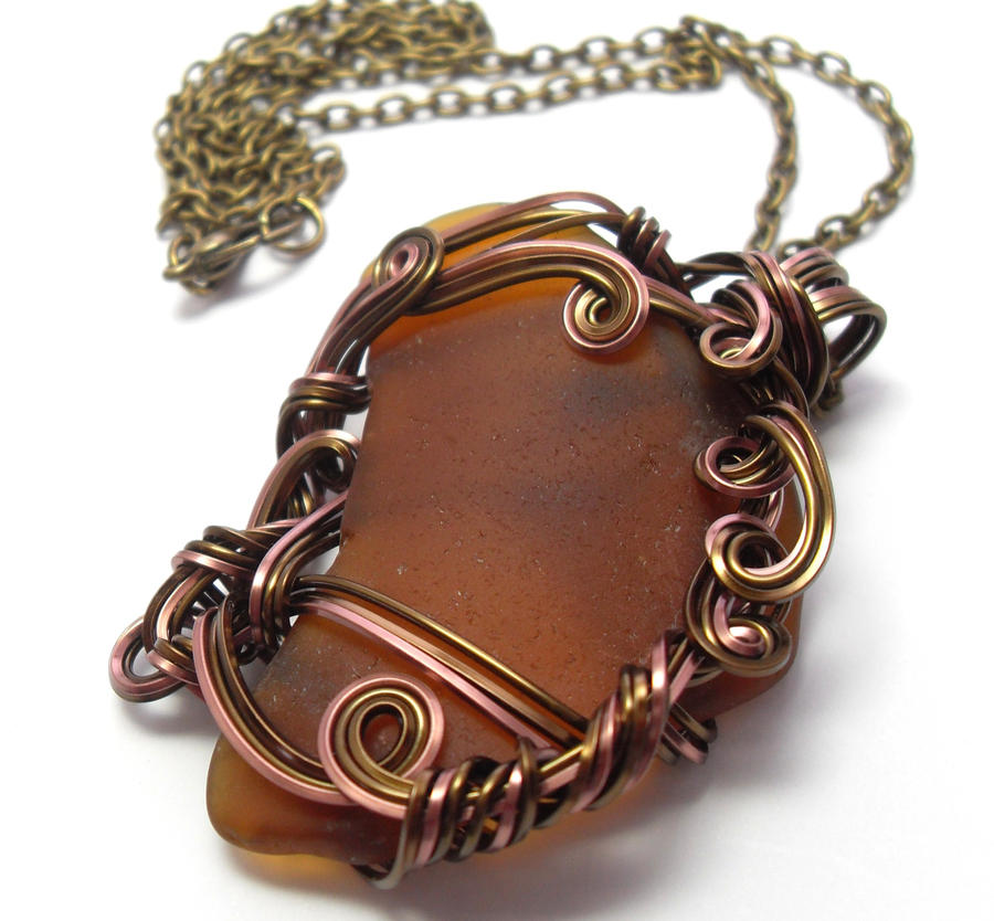 Amber Brown Maine Sea Glass Necklace by sojourncuriosities