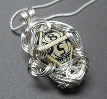 Gamer Die Necklace Steampunk Middle Earth Antiqued by sojourncuriosities
