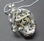 Gamer Die Necklace Steampunk Middle Earth Antiqued
